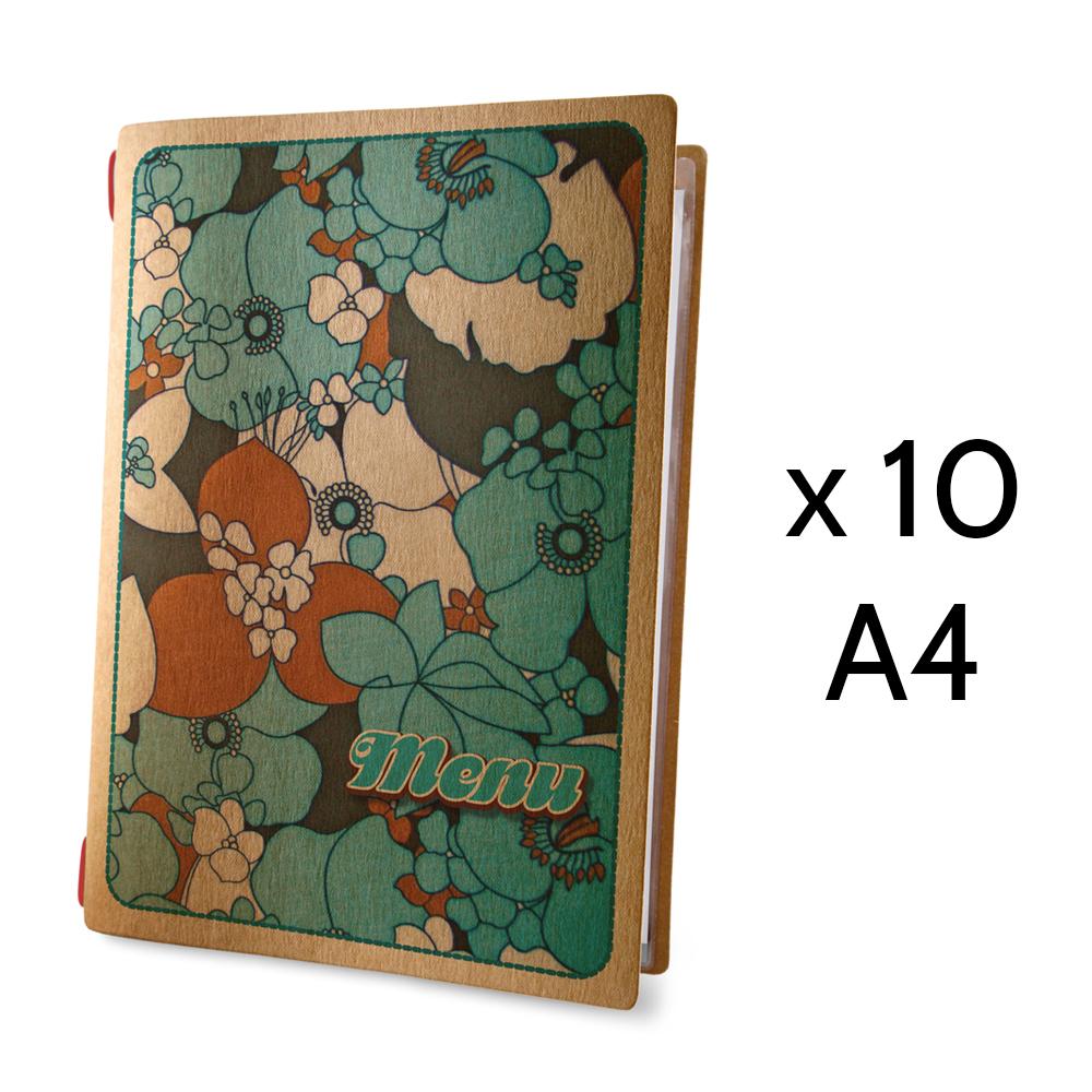 Lot 10 protège-menus format A4 couleur naturel 1 insert modèle TROPICAL - Dag Style