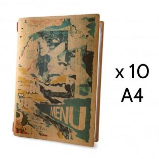 Lot 10 protège-menus format A4 couleur naturel 1 insert modèle STREET ART - Dag Style