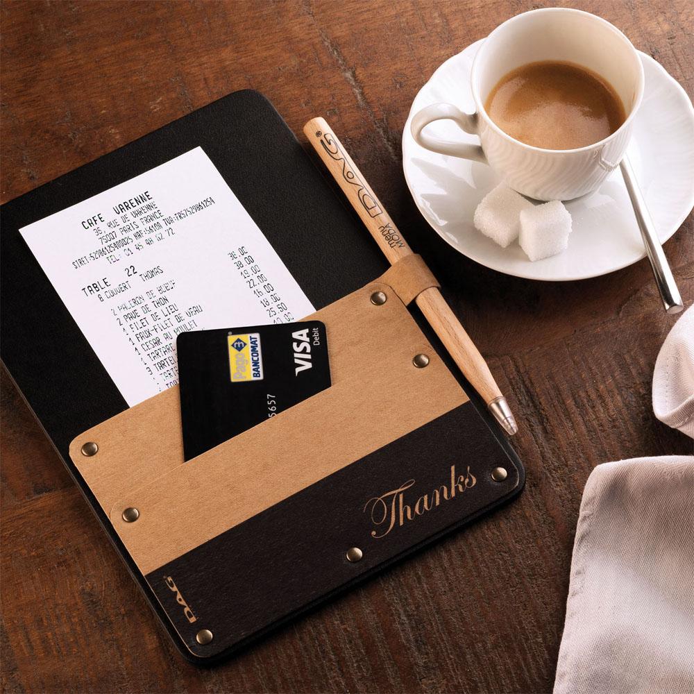 Porte addition pour hôtel restaurant POCKET en cuir couleur noir - DAG Style