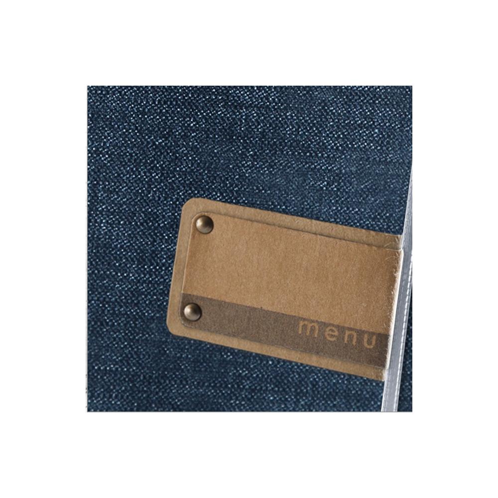 Protège menu bleu effet jean's format A4 en PVC pour hôtel restaurant - Dag Style