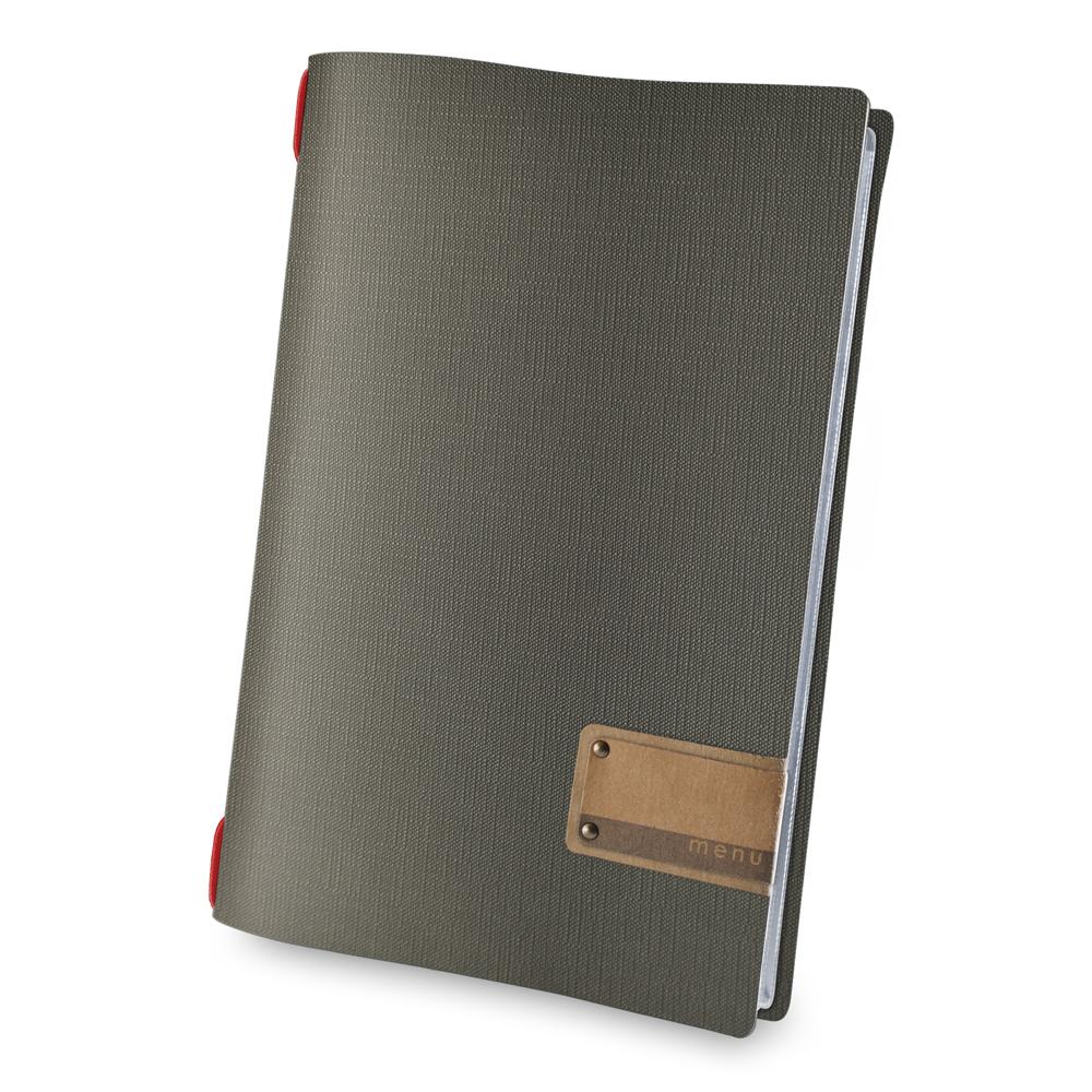Protège menu effet jute format A4 noir / rouge pour hôtel restaurant