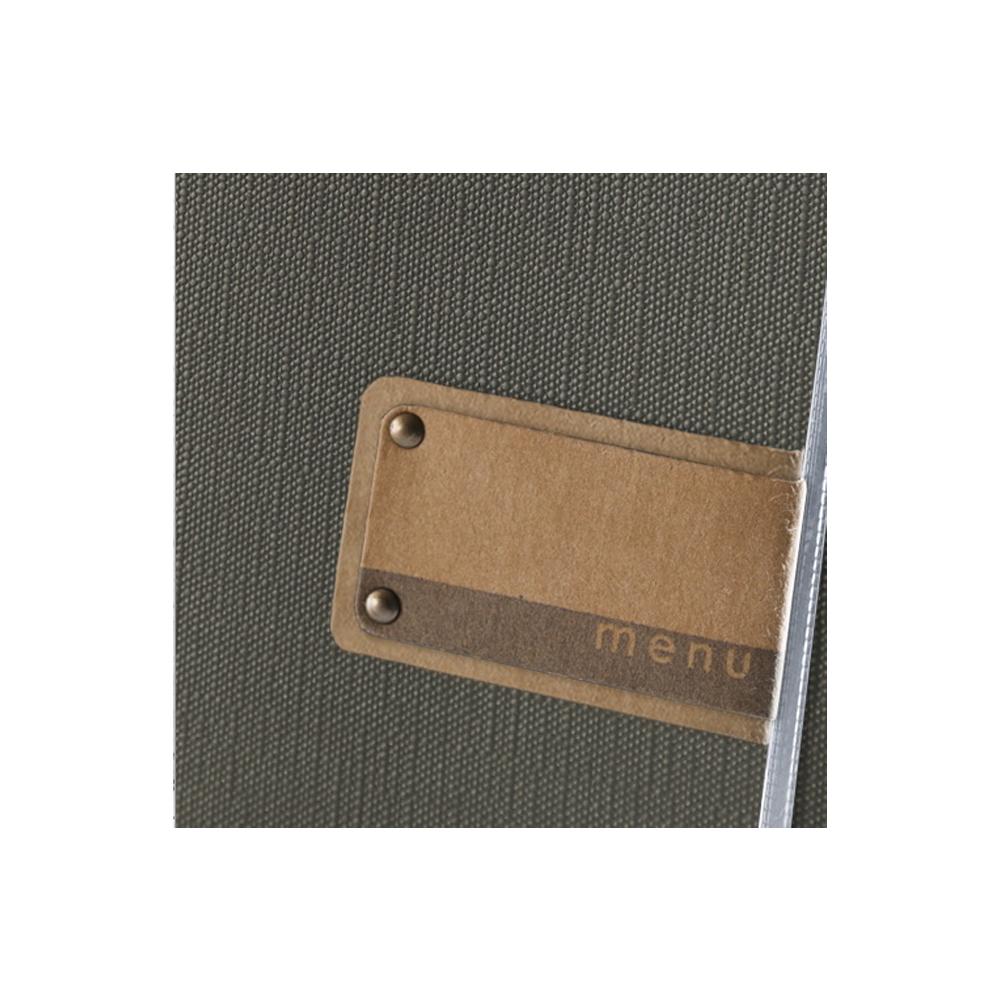 Protège menu gris effet toile de jute format A4 en PVC pour hôtel restaurant - Dag Style