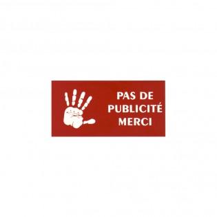 """Plaque adhésive STOP PUB """"Pas de publicité"""" pour boite aux lettres couleur rouge lettres blanches"""