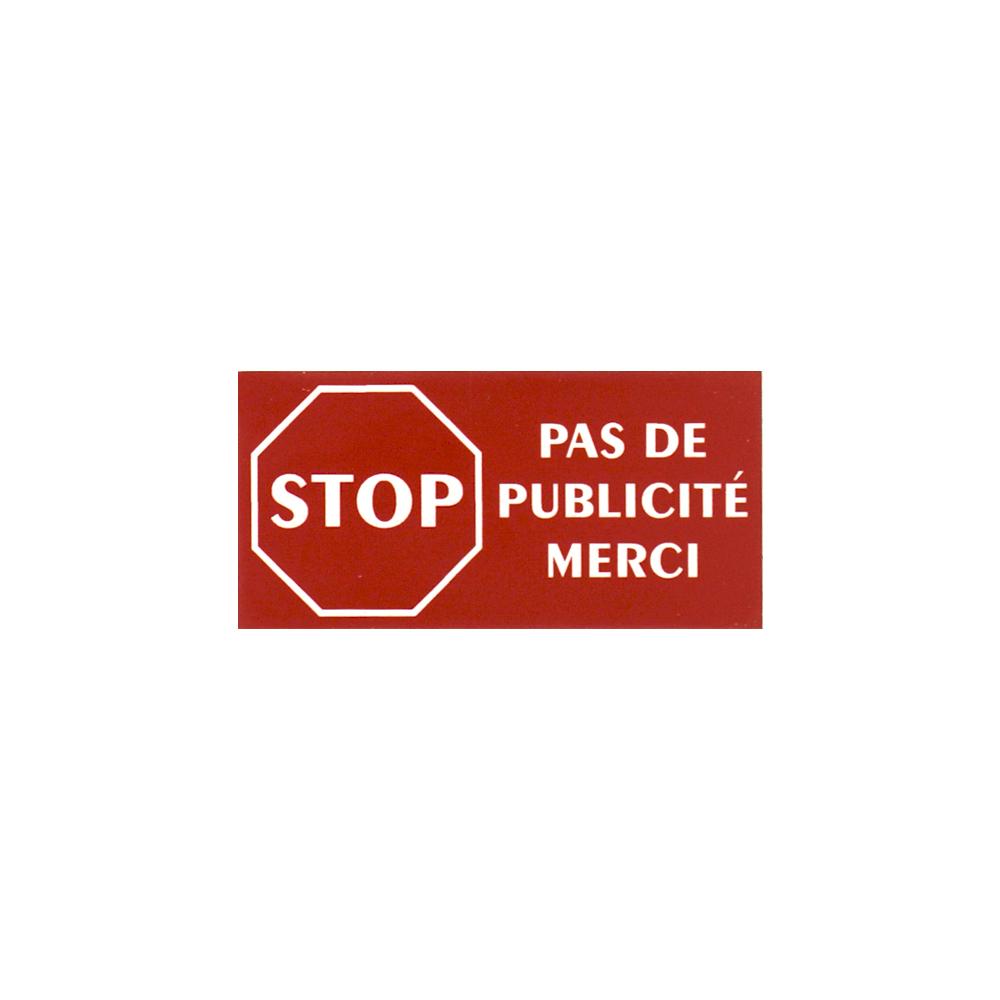 Plaque adhésive STOP PUB pour boite aux lettres couleur rouge lettres blanches 8 x 4 cm - Gravure laser