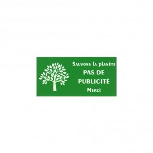 """Plaque adhésive STOP PUB """"Sauvons la planète"""" pour boite aux lettres couleur vert lettres blanches 8 x 4 cm - Gravure laser"""