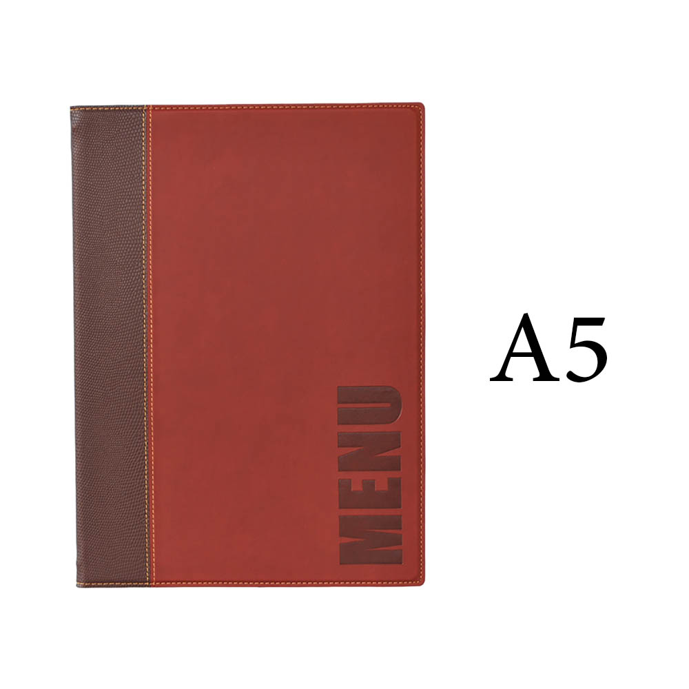 Protège-menu Tendance format A5 couleur bordeaux - Porte menu hôtel restaurant - Securit