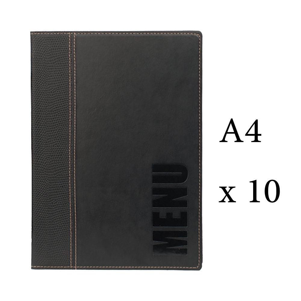 Lot 10 protège-menu Tendance format A4 couleur noir - Porte menu hôtel restaurant - Securit
