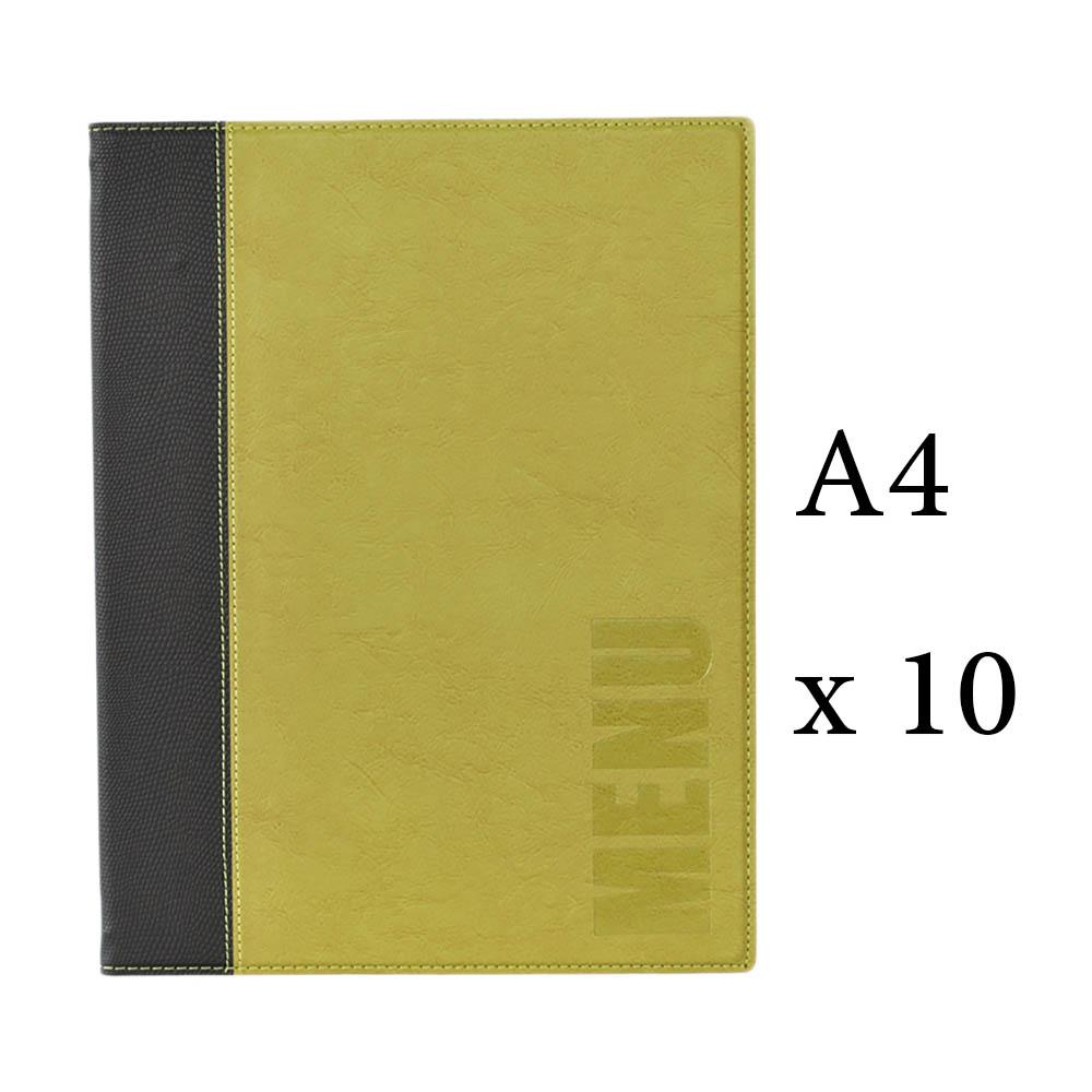 Lot 10 protège-menu Tendance format A4 couleur vert - Porte menu hôtel restaurant - Securit