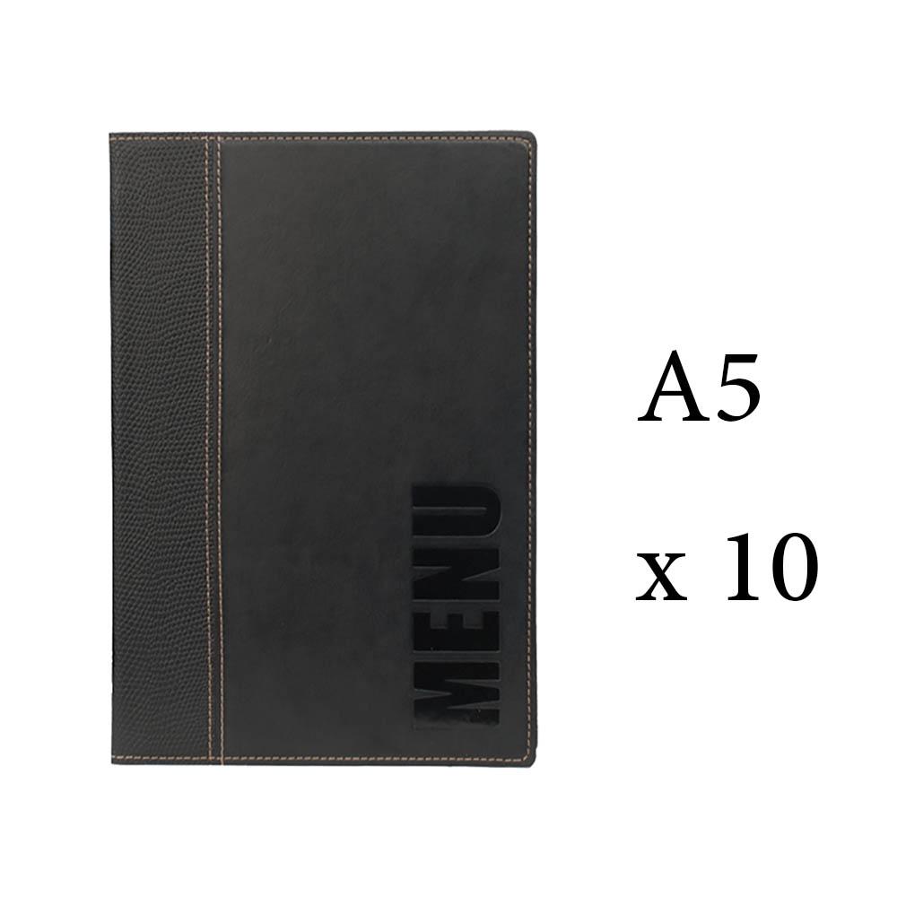 Lot 10 protège-menu Tendance format A5 couleur noir - Porte menu hôtel restaurant - Securit
