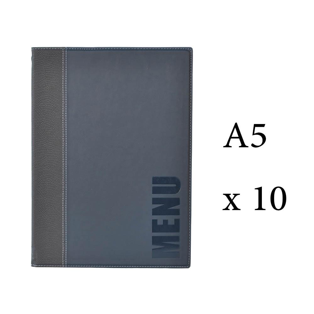 Lot 10 protège-menu Tendance format A5 couleur bleu - Porte menu hôtel restaurant - Securit