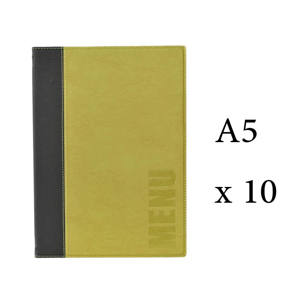 Lot 10 protège-menu Tendance format A5 couleur vert - Porte menu hôtel restaurant - Securit
