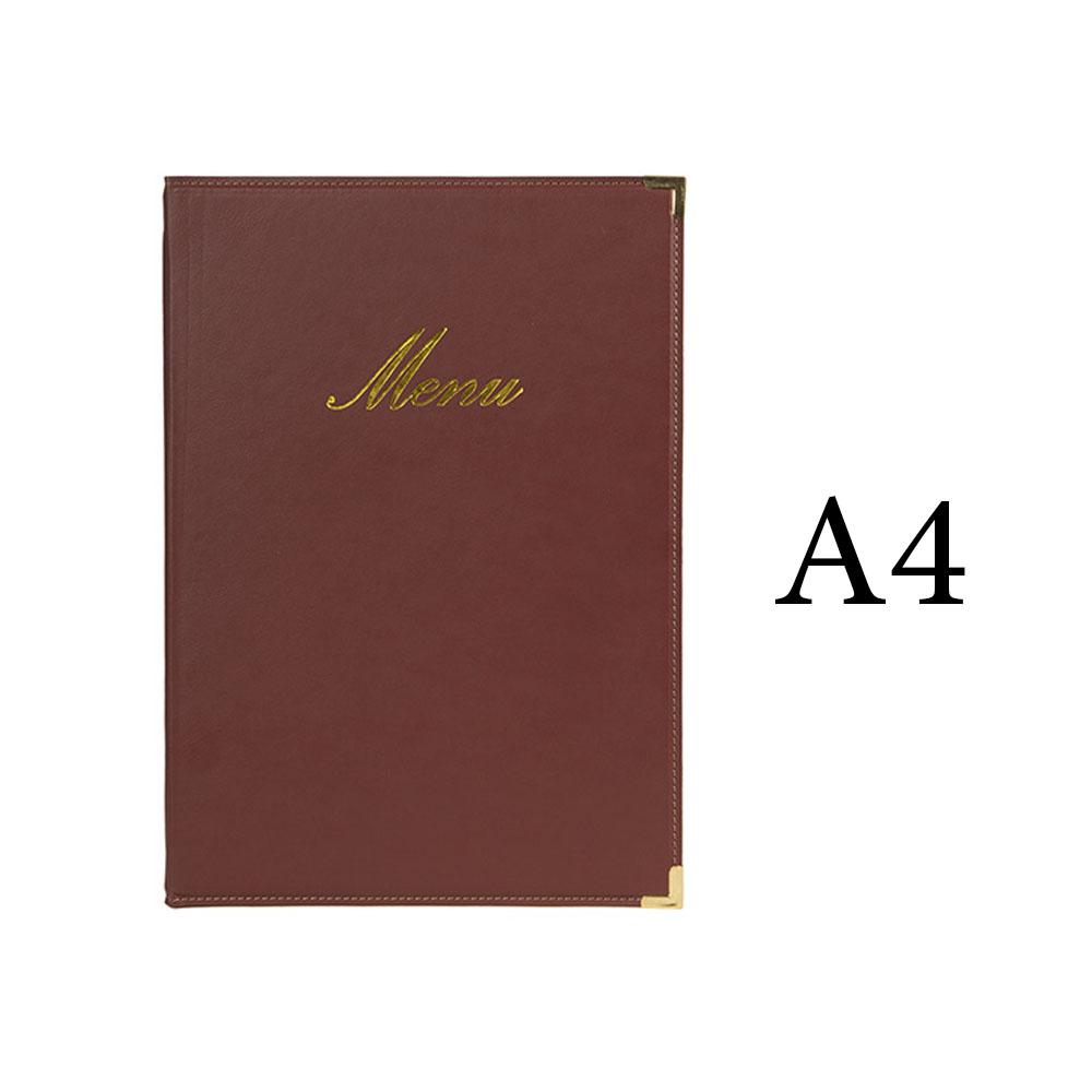 Protège-menu Classique format A4 couleur bordeaux - Porte menu hôtel restaurant - Securit