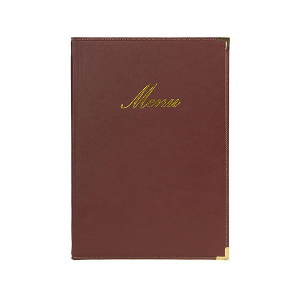 Protège-menu Classique format A5 couleur bordeaux - Porte menu hôtel restaurant - Securit