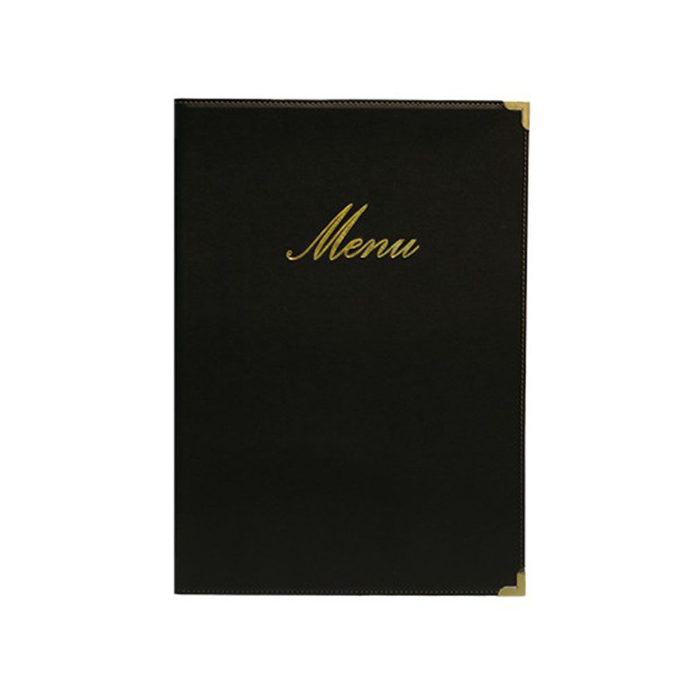 Lot 10 protège-menu Classique format A4 couleur noir - Porte menu hôtel restaurant - Securit