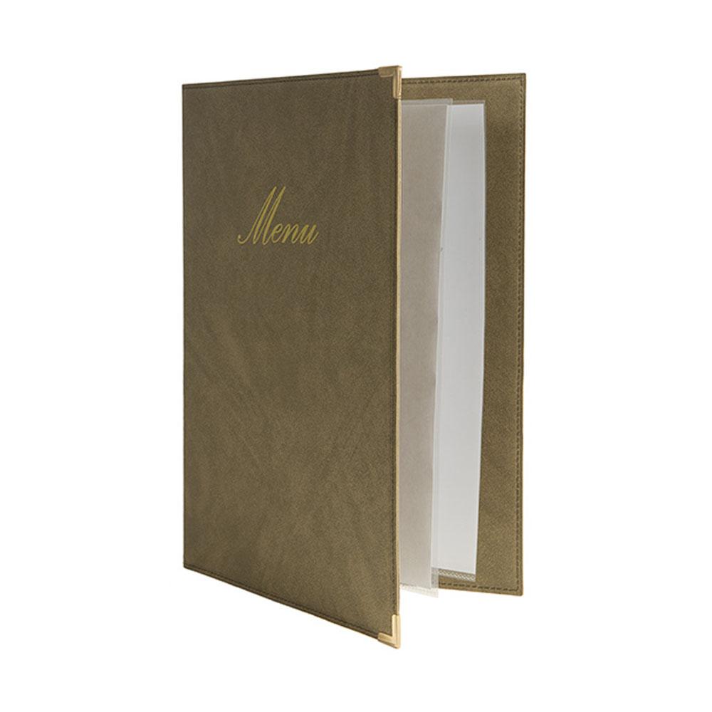 Lot 10 protège-menu Classique format A4 couleur beige - Porte menu hôtel restaurant - Securit