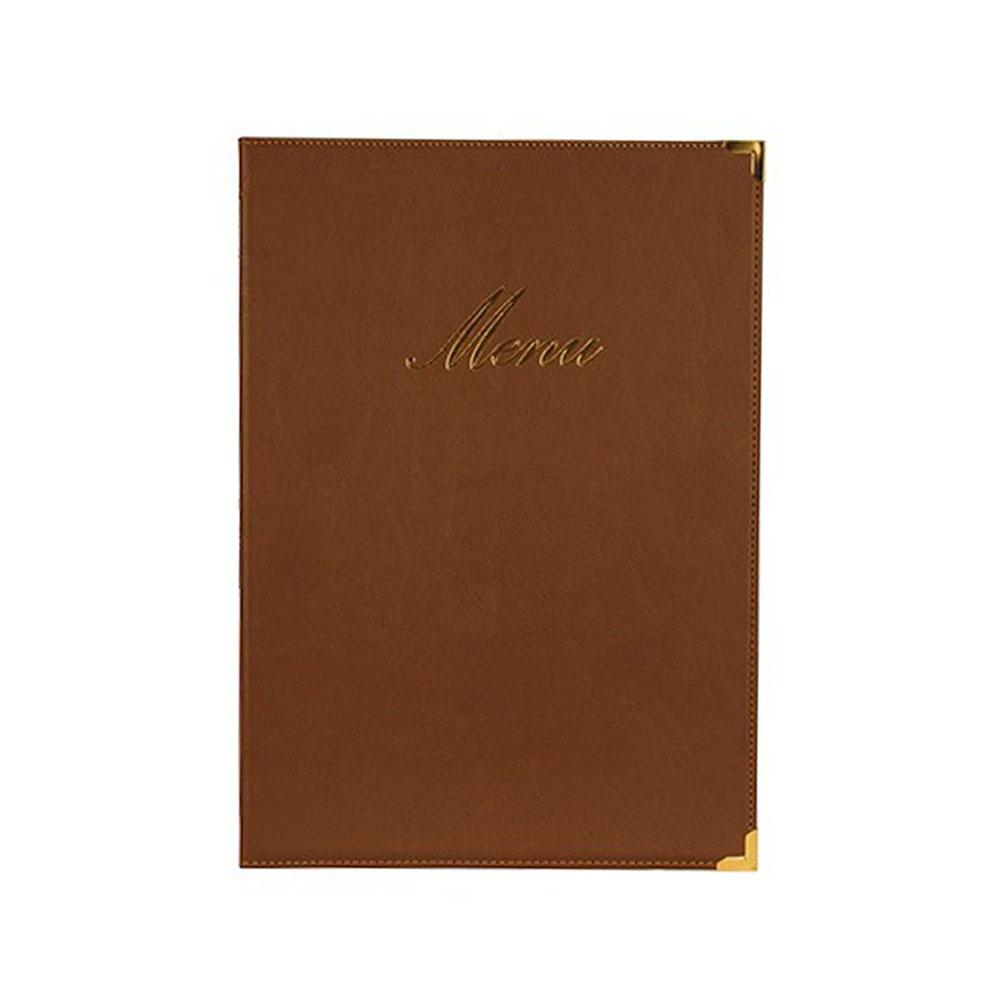 Lot 10 protège-menu Classique format A4 couleur marron - Porte menu hôtel restaurant - Securit