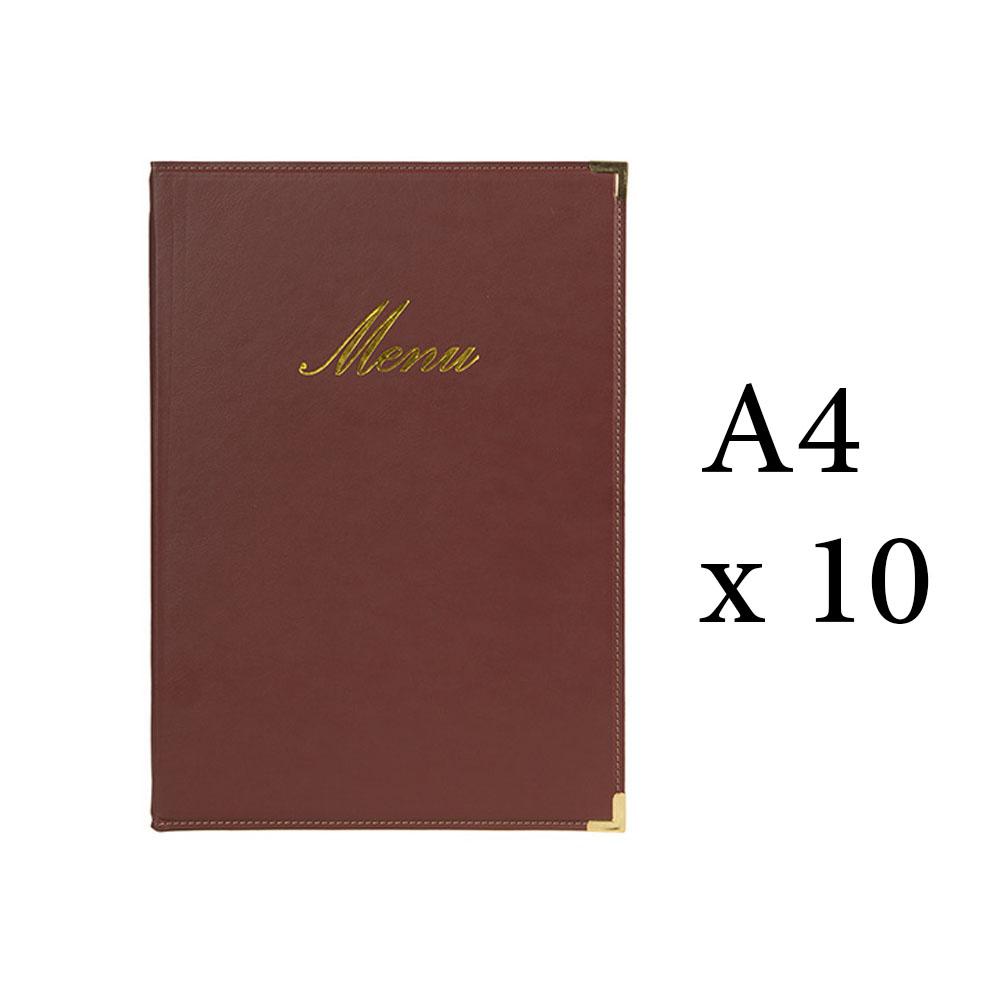 Lot 10 protège-menu Classique format A4 couleur bordeaux - Porte menu hôtel restaurant - Securit