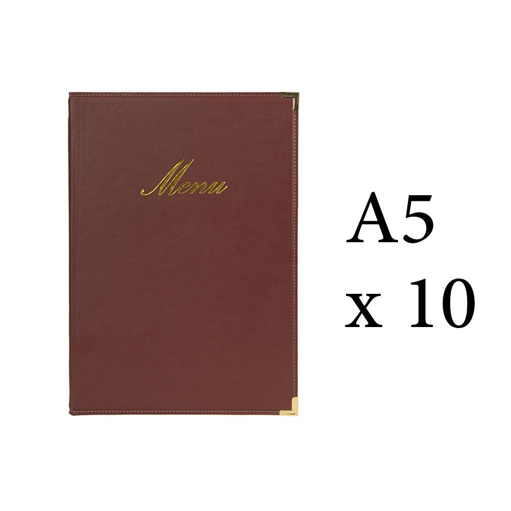 Lot 10 protège-menu Classique format A5 couleur bordeaux - Porte menu hôtel restaurant - Securit