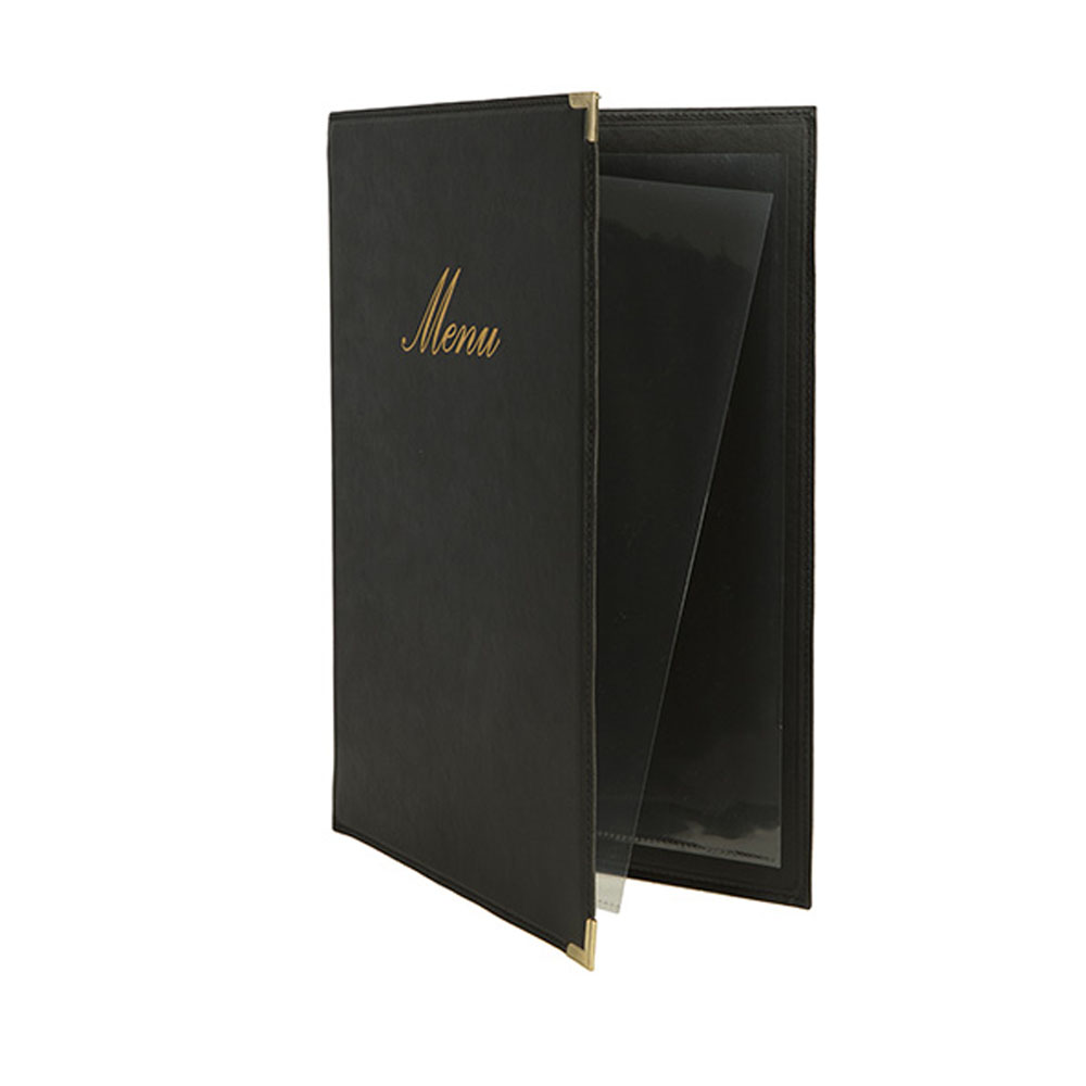 Lot 10 protège-menu Classique format A5 couleur noir - Porte menu hôtel restaurant - Securit