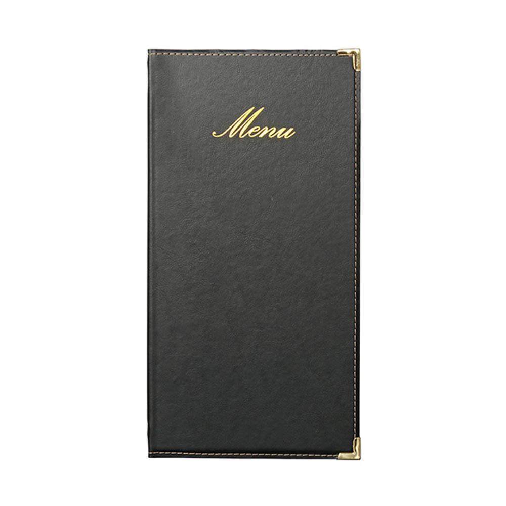 Lot 10 protège menu long Classique format A45 couleur noir - Hôtel restaurant - Securit