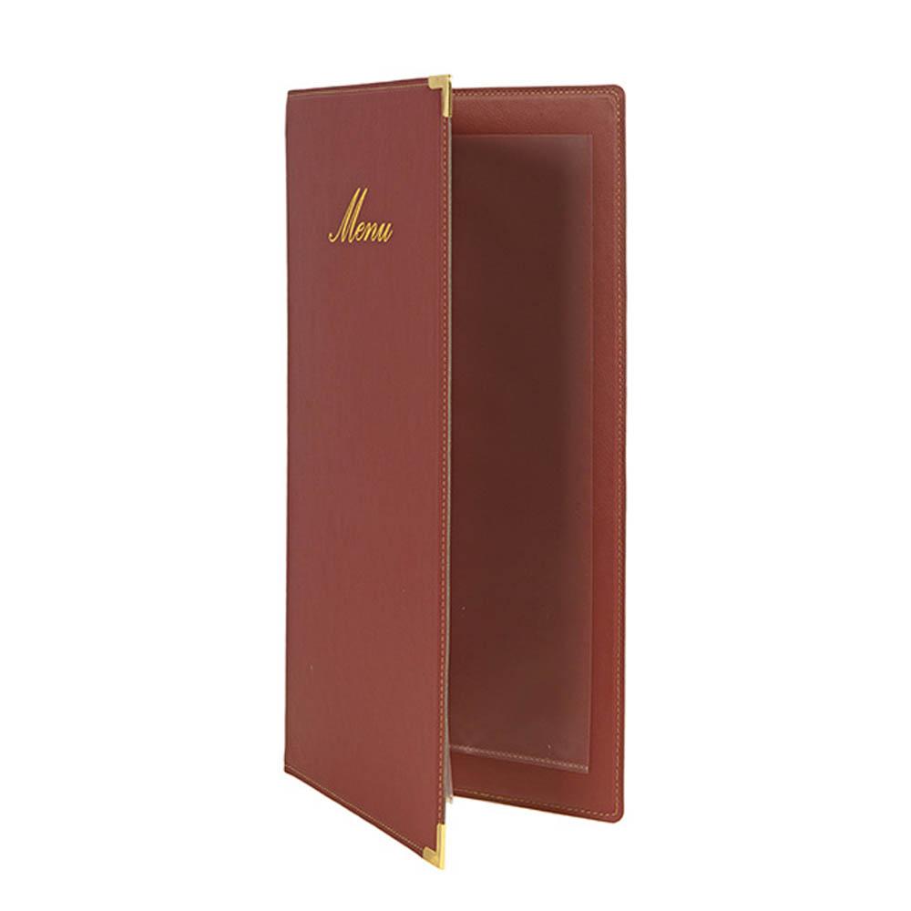 Protège menu long Classique format A45 couleur bordeaux - Hôtel restaurant - Securit