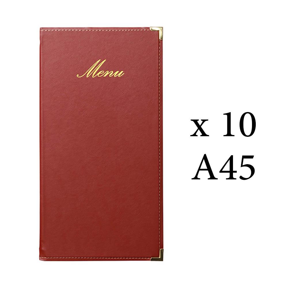 Lot 10 protège menu long Classique format A45 couleur bordeaux - Hôtel restaurant - Securit