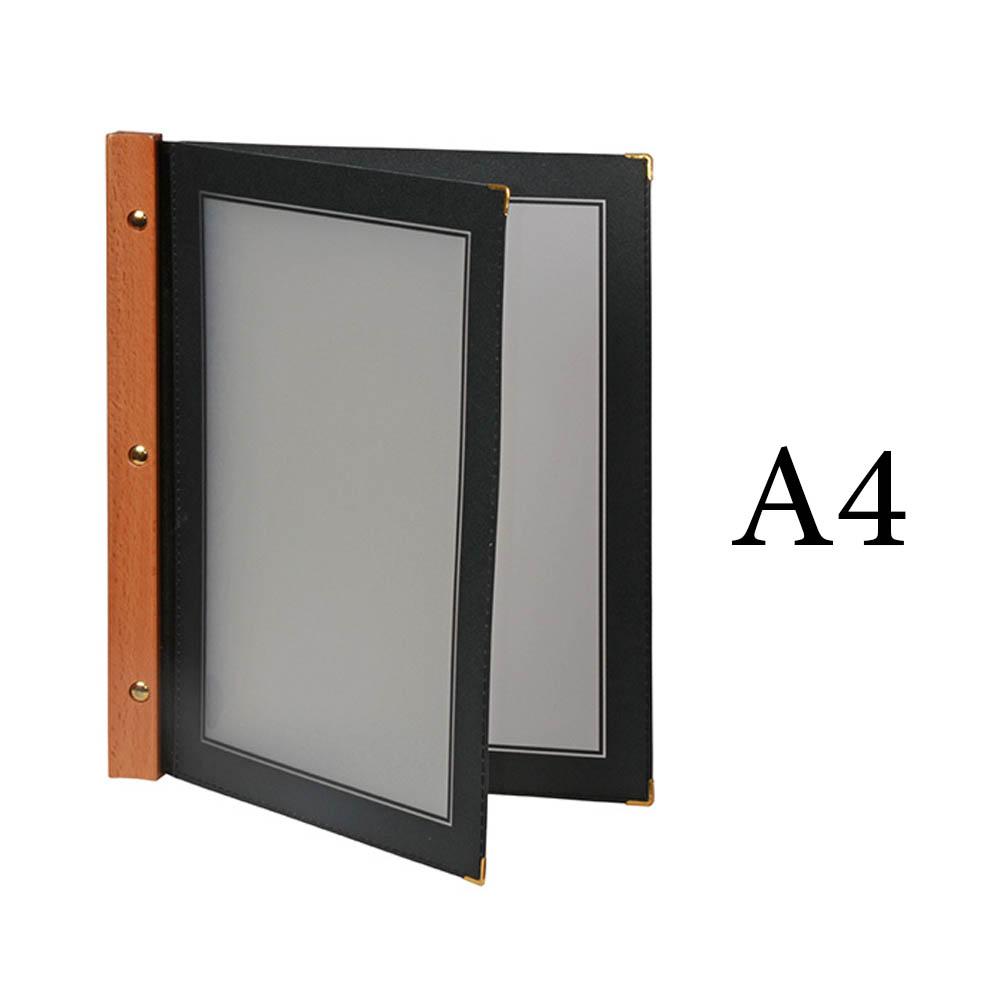 Protège menu noir WOOD + 2 inserts format A4 pour hôtel restaurant - Securit