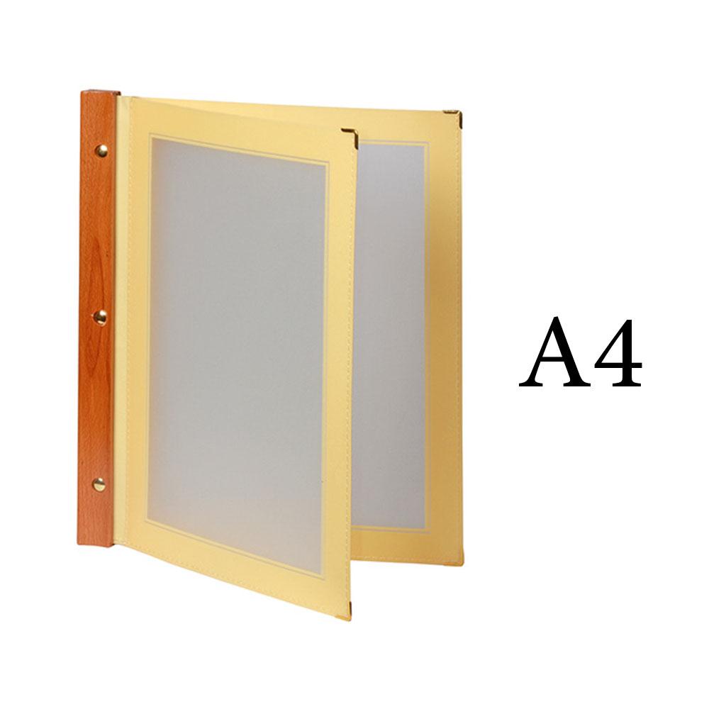 Protège menu beige WOOD + 2 inserts format A4 pour hôtel restaurant - Securit