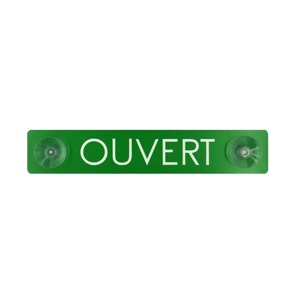 Plaque Ouvert / Fermé recto verso à ventouses pour fixation vitrine - Panneau PVC signalétique hôtel restaurant boutique