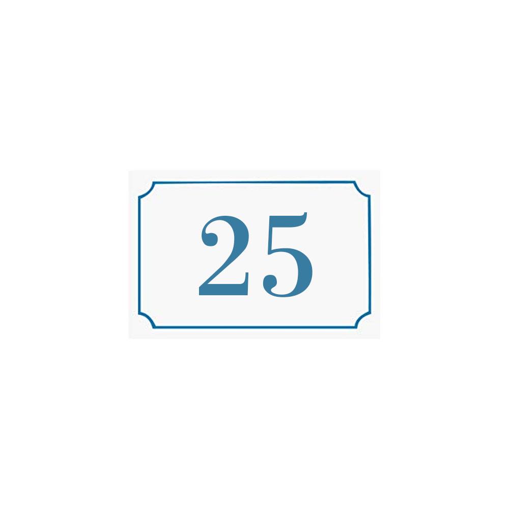 Numéro de maison / rue gravé et personnalisé couleur blanc chiffres bleus - Signalétique extérieure