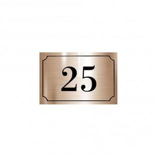 Numéro de maison / rue gravé et personnalisé couleur cuivre chiffres noirs - Signalétique extérieure