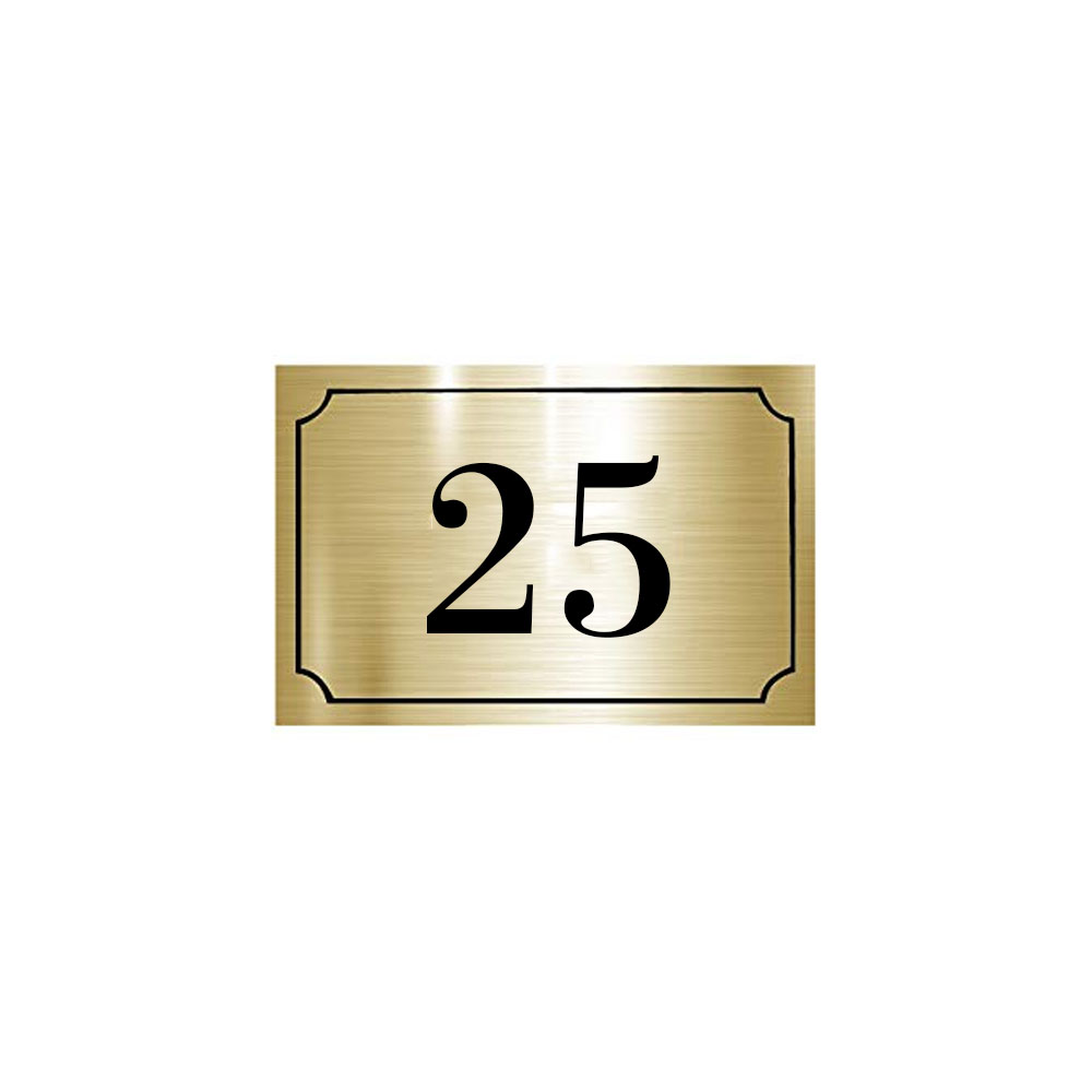 Numéro de maison / rue gravé et personnalisé couleur or brossé chiffres noirs - Signalétique extérieure