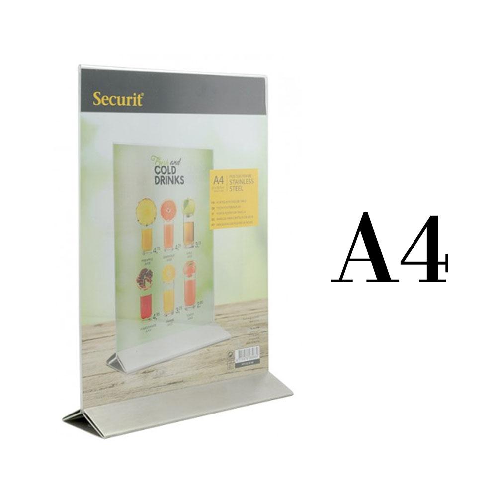 Porte menu de table / Porte affiche en plexi avec base en Inox pour table d'hôtel restaurant