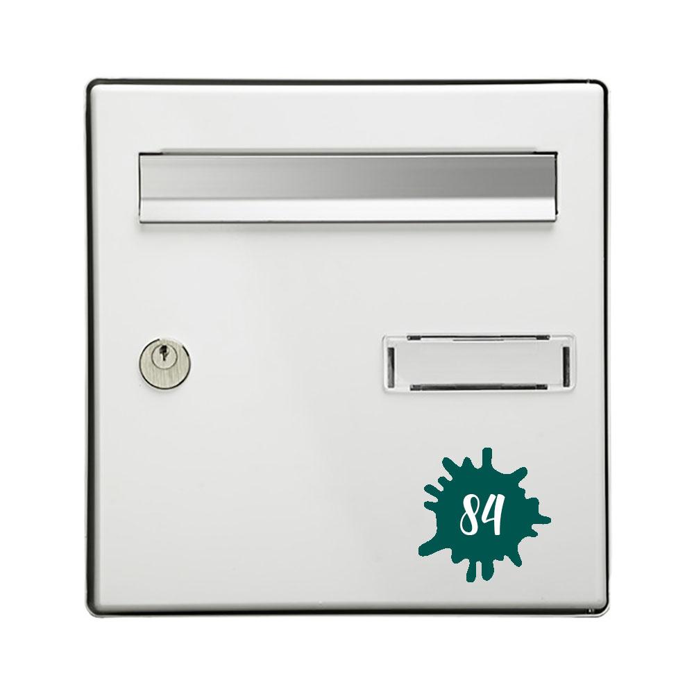 Numéro fantaisie personnalisable pour boite aux lettres couleur vert foncé chiffres blancs - Modèle Splash