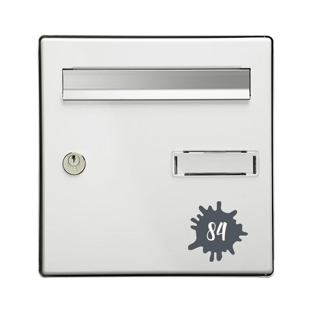 Numéro fantaisie personnalisable pour boite aux lettres couleur gris chiffres blancs - Modèle Splash