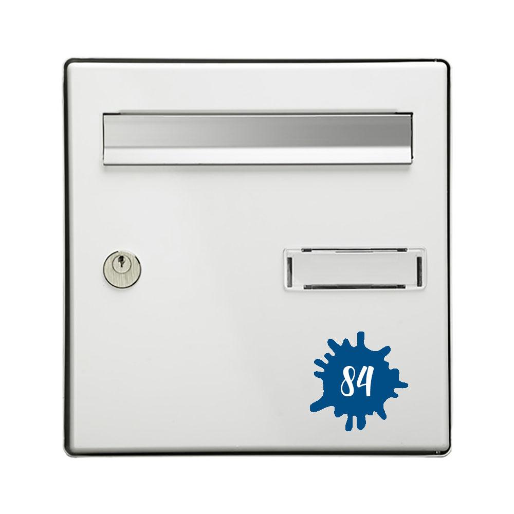 Numéro fantaisie personnalisable pour boite aux lettres couleur bleu chiffres blancs - Modèle Splash