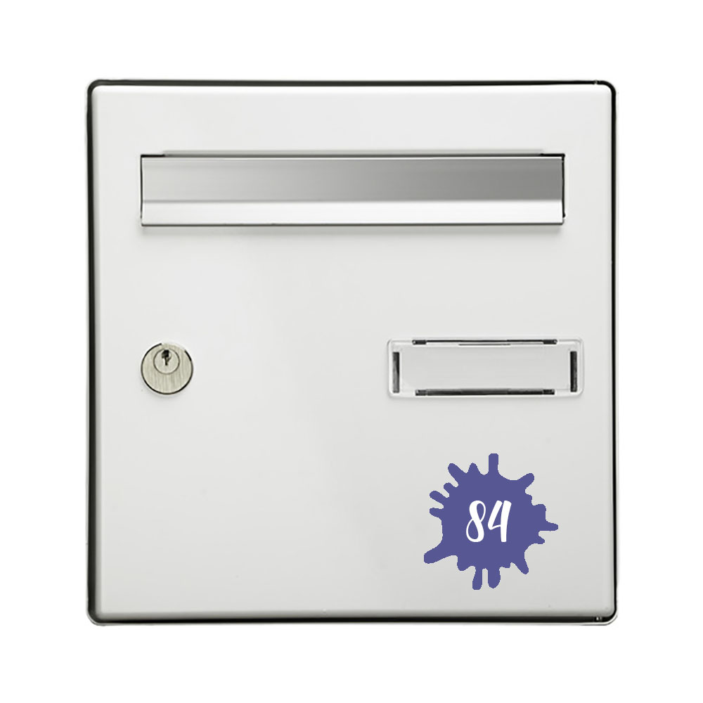Numéro fantaisie personnalisable pour boite aux lettres couleur violet chiffres blancs - Modèle Splash