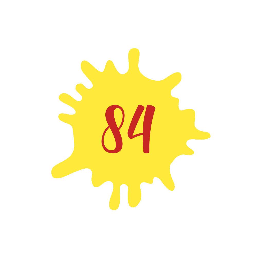 Numéro fantaisie personnalisable pour boite aux lettres couleur jaune chiffres rouges - Modèle Splash