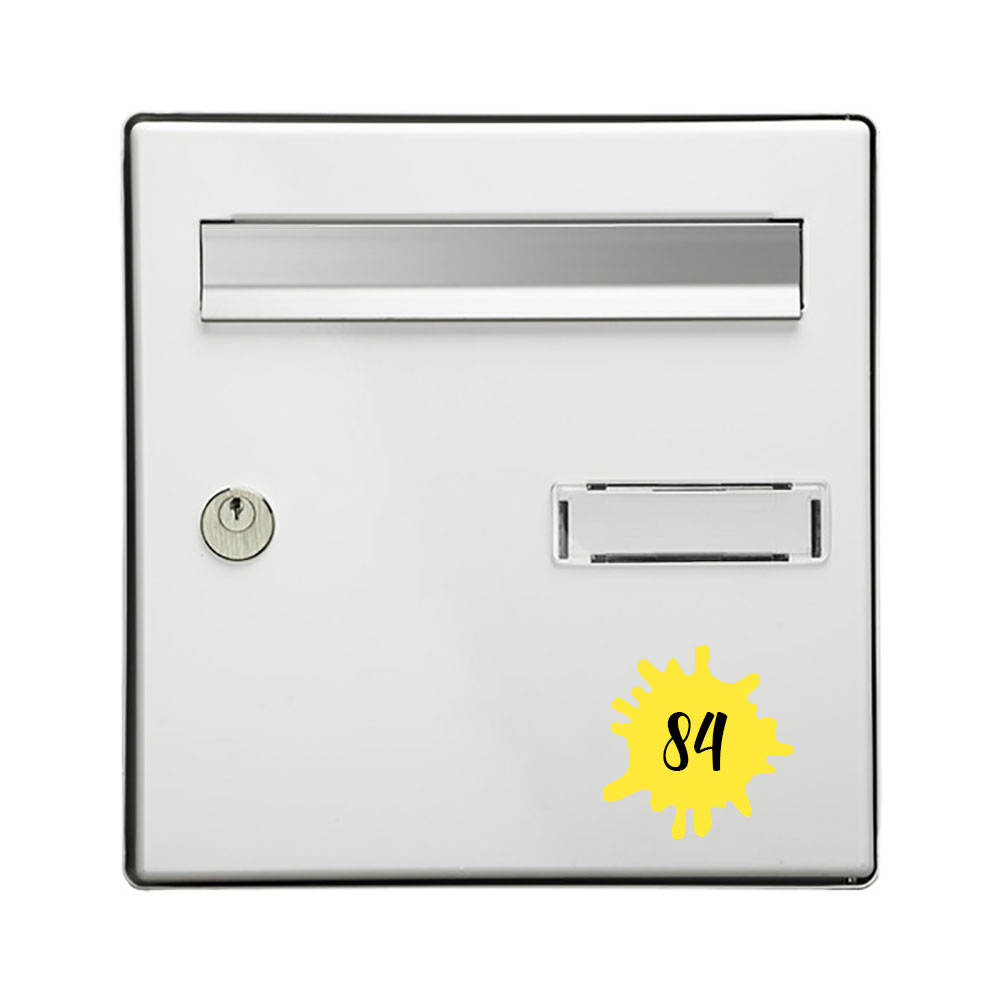 Numéro fantaisie personnalisable pour boite aux lettres couleur jaune chiffres noirs - Modèle Splash