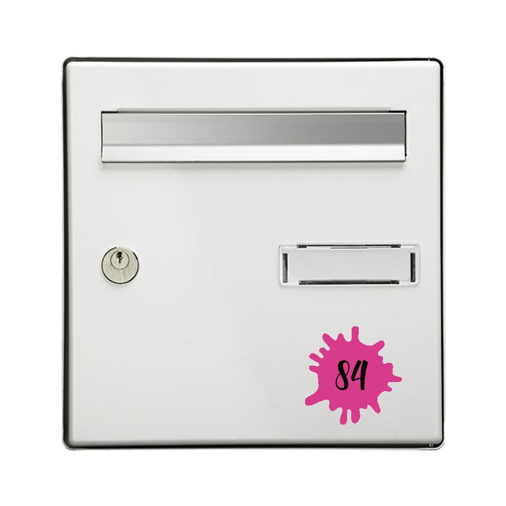 Numéro fantaisie personnalisable pour boite aux lettres couleur rose chiffres noirs - Modèle Splash