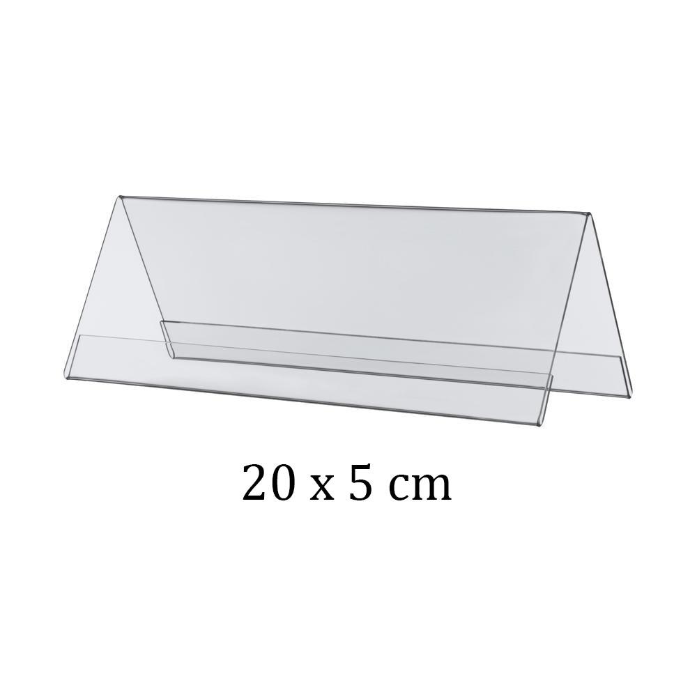 Chevalet porte nom double face en plexiglass - 10 x 4 cm