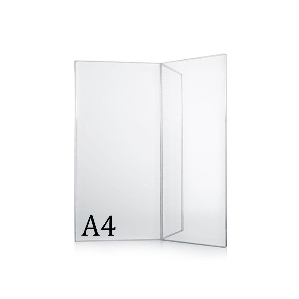 Porte menu de table A5 en Y transparent pour hôtel restaurant brasserie