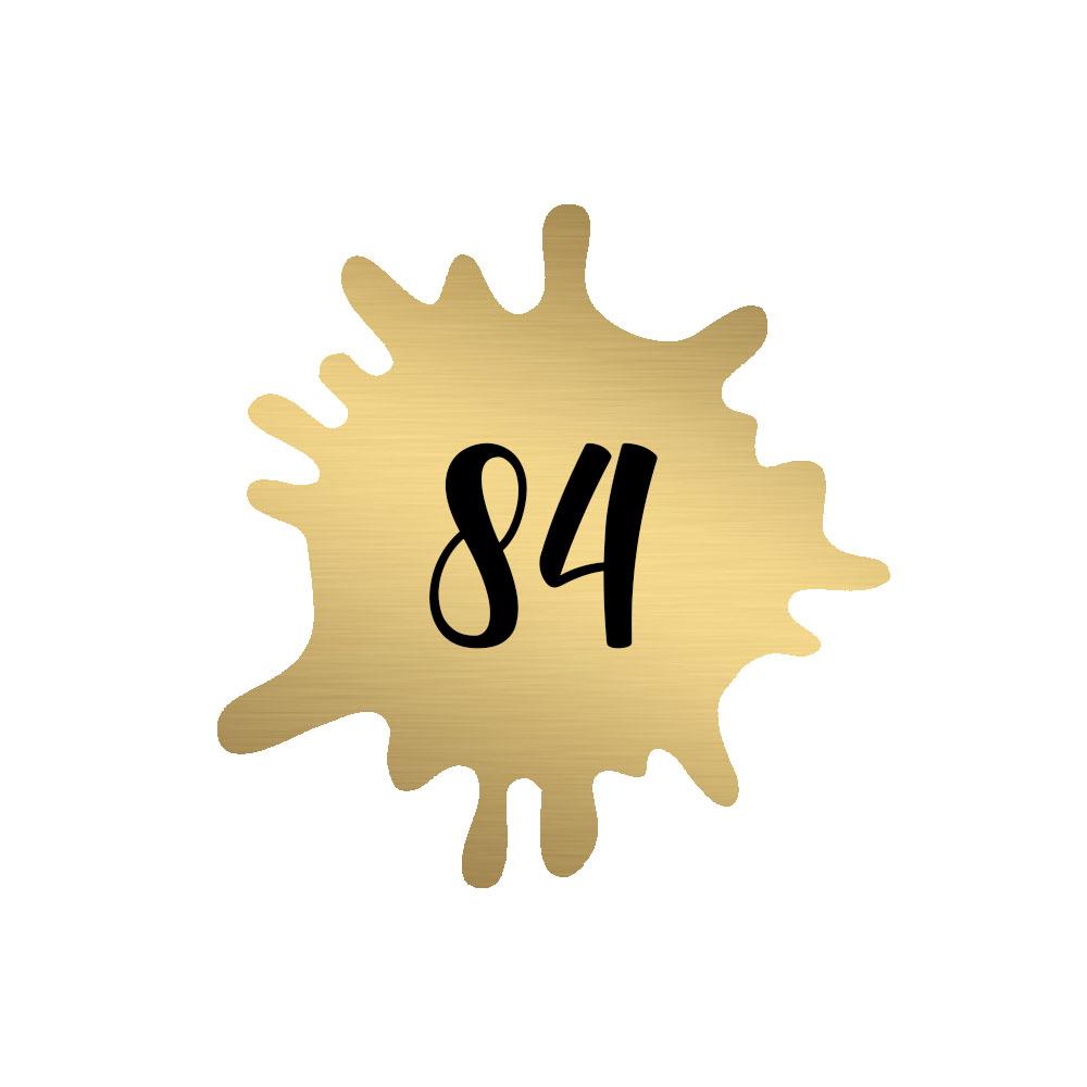 Numéro fantaisie personnalisable pour boite aux lettres couleur or brossé chiffres noirs - Modèle Splash