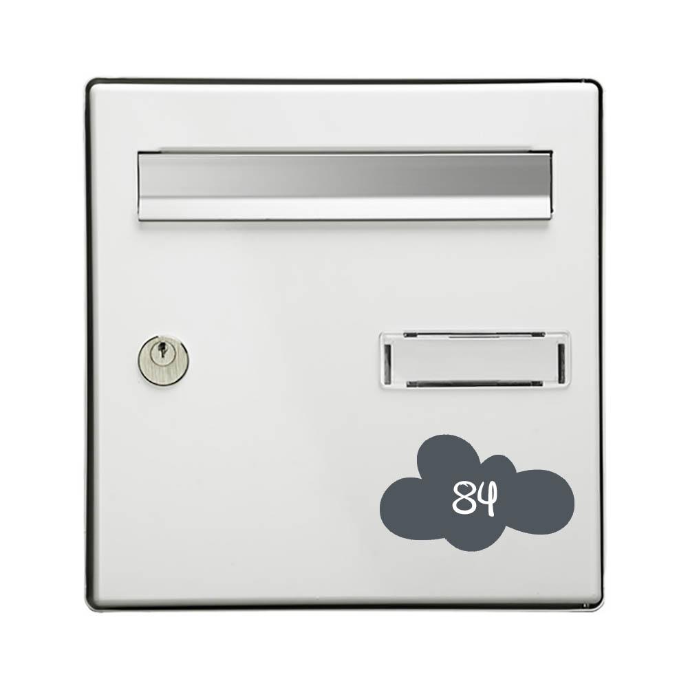 Numéro fantaisie personnalisable pour boite aux lettres couleur gris chiffres blancs - Modèle Nuage