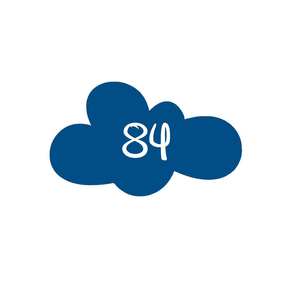 Numéro fantaisie personnalisable pour boite aux lettres couleur bleu chiffres blancs - Modèle Nuage