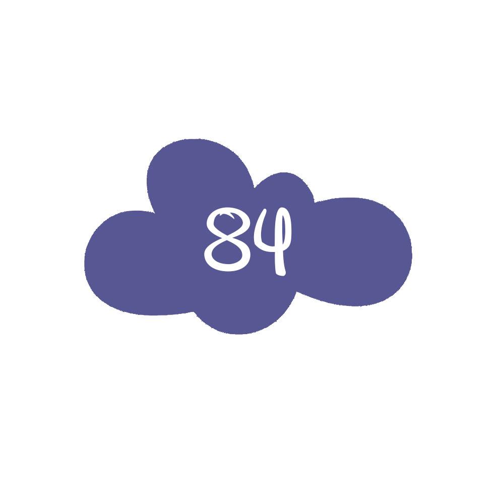 Numéro fantaisie personnalisable pour boite aux lettres couleur violet chiffres blancs - Modèle Nuage