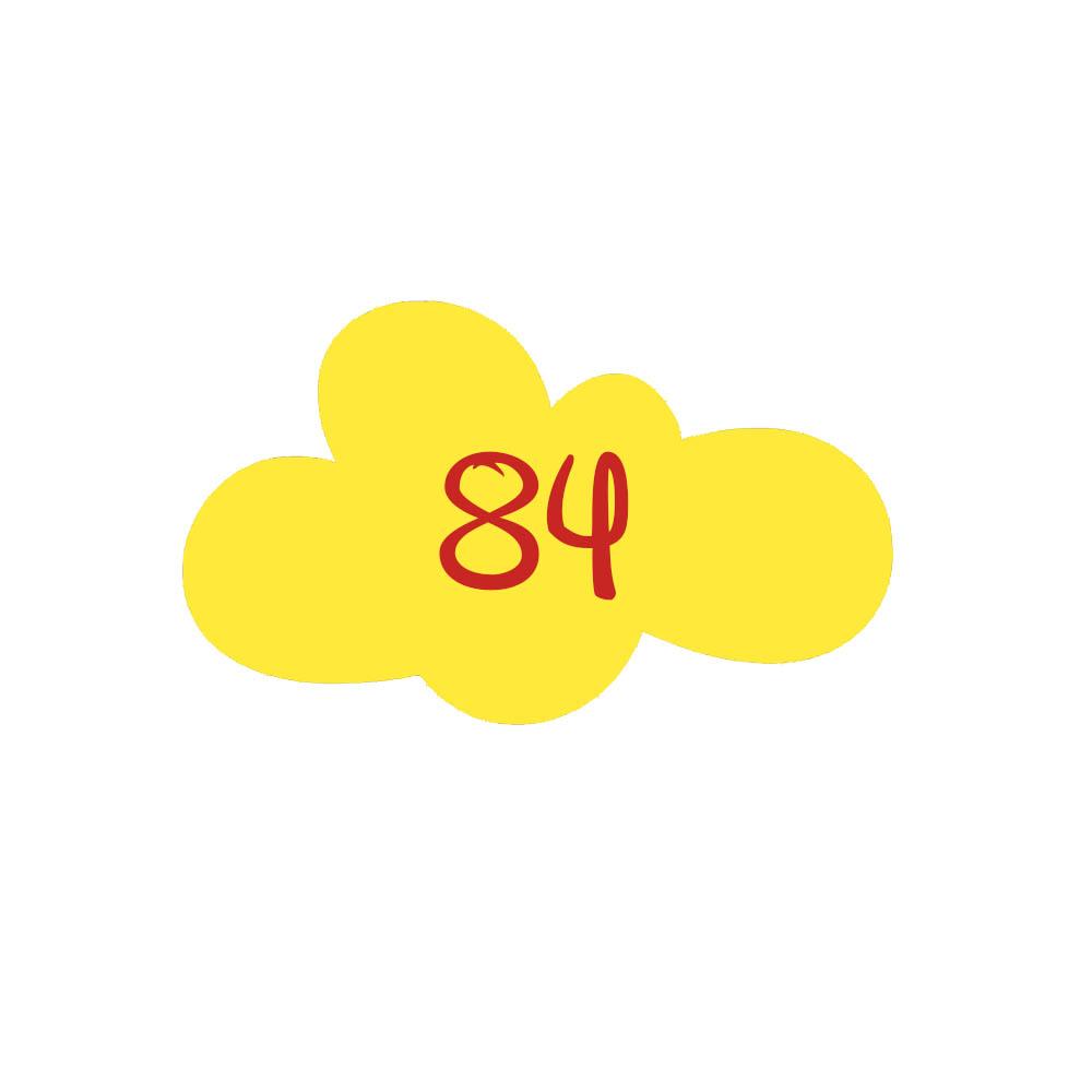 Numéro fantaisie personnalisable pour boite aux lettres couleur jaune chiffres rouges - Modèle Nuage