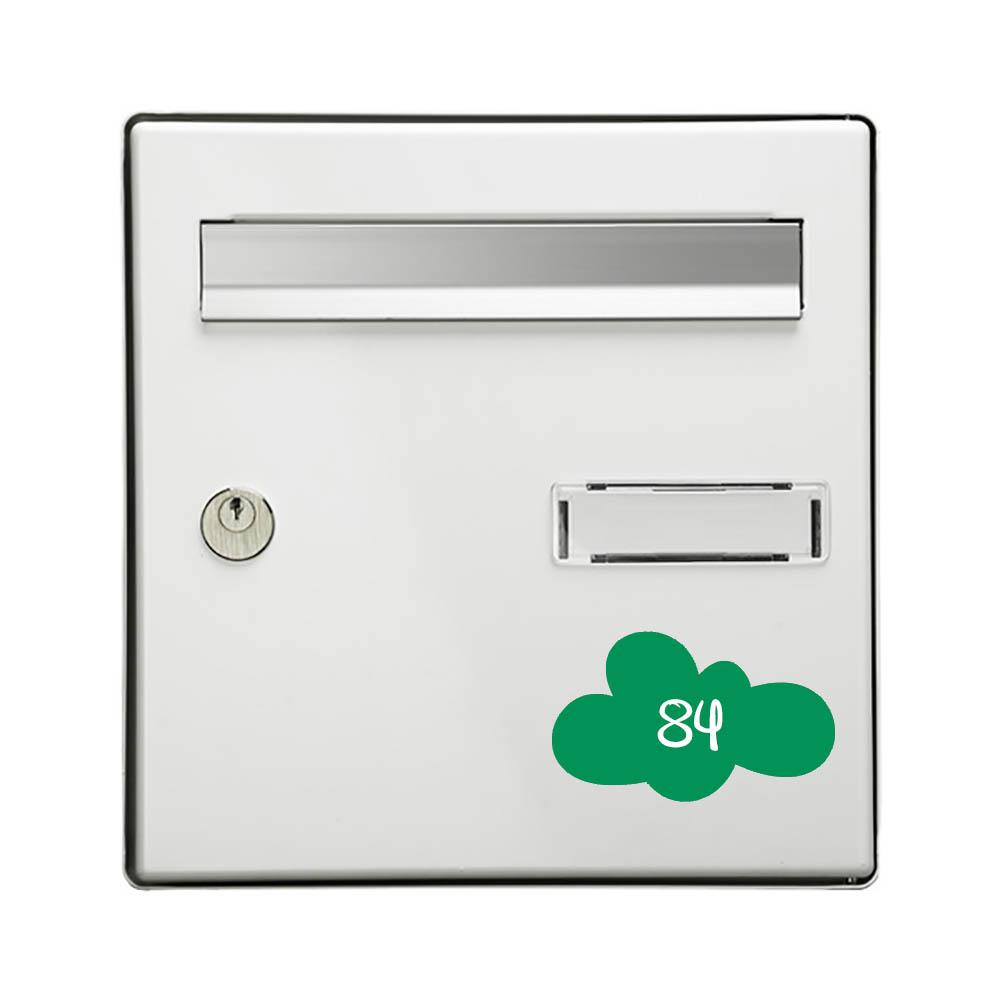 Numéro fantaisie personnalisable pour boite aux lettres couleur vert pomme chiffres blancs - Modèle Nuage