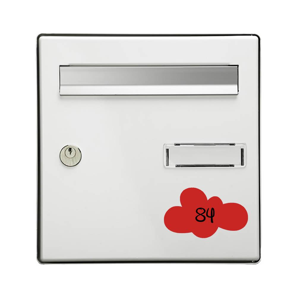 Numéro fantaisie personnalisable pour boite aux lettres couleur rouge chiffres noirs - Modèle Nuage