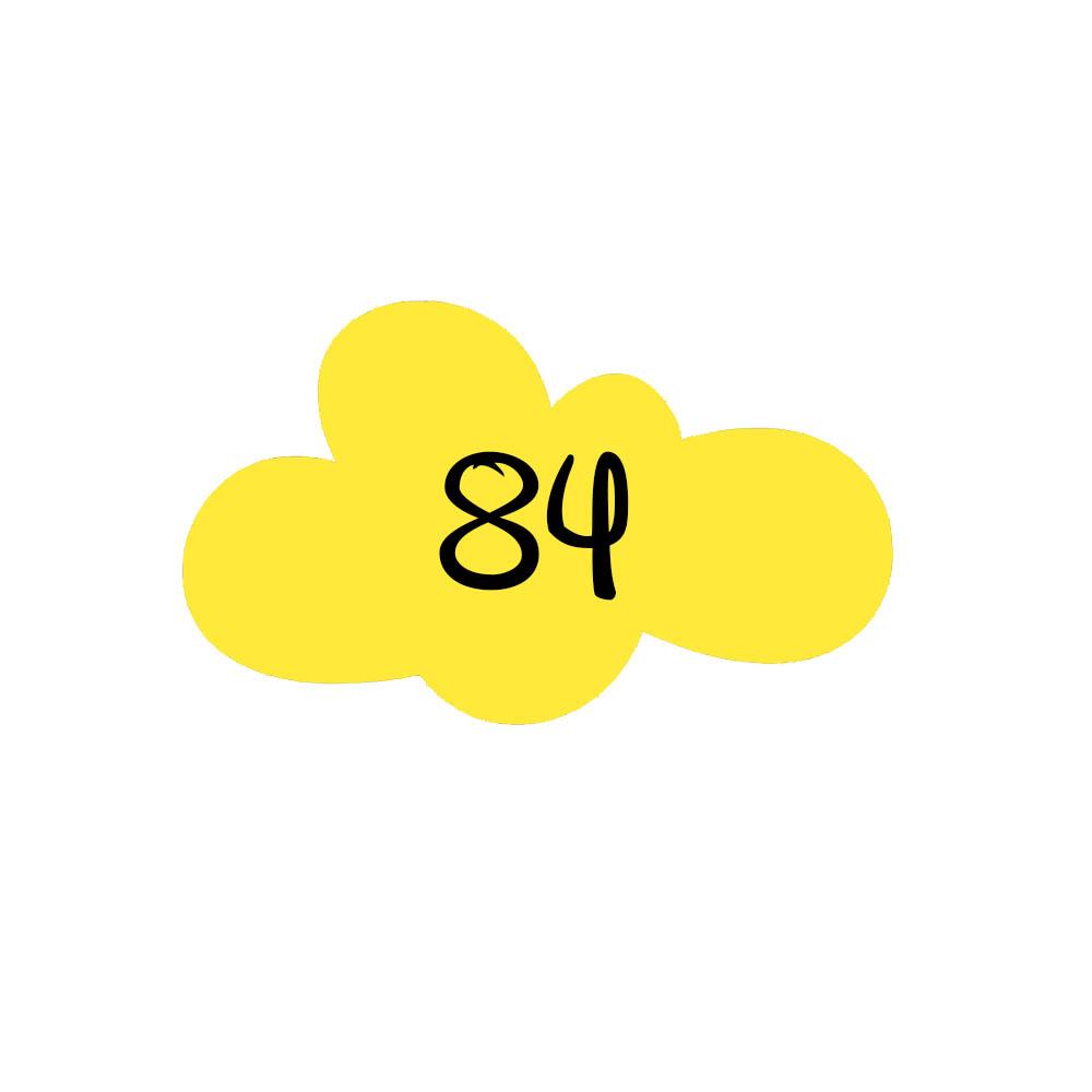 Numéro fantaisie personnalisable pour boite aux lettres couleur jaune chiffres noirs - Modèle Nuage